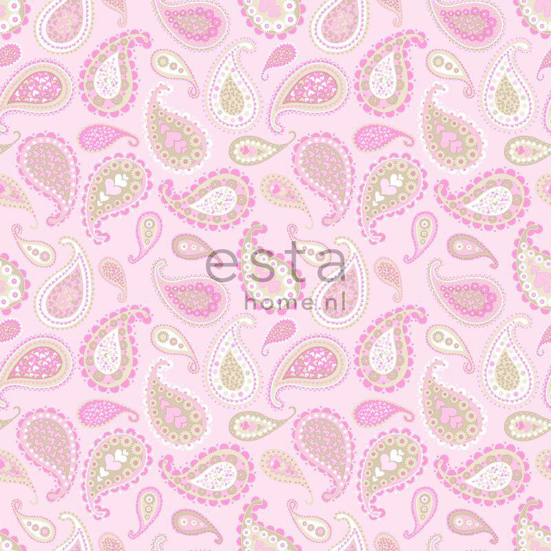lief behang met paisleys roze