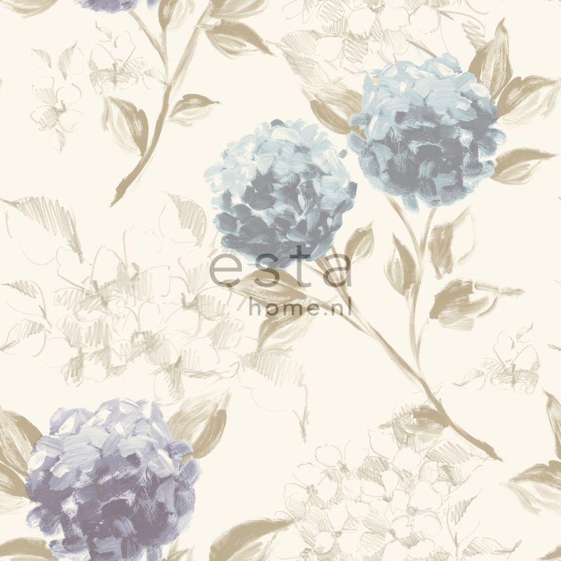 vliesbehang hortensia bloemen