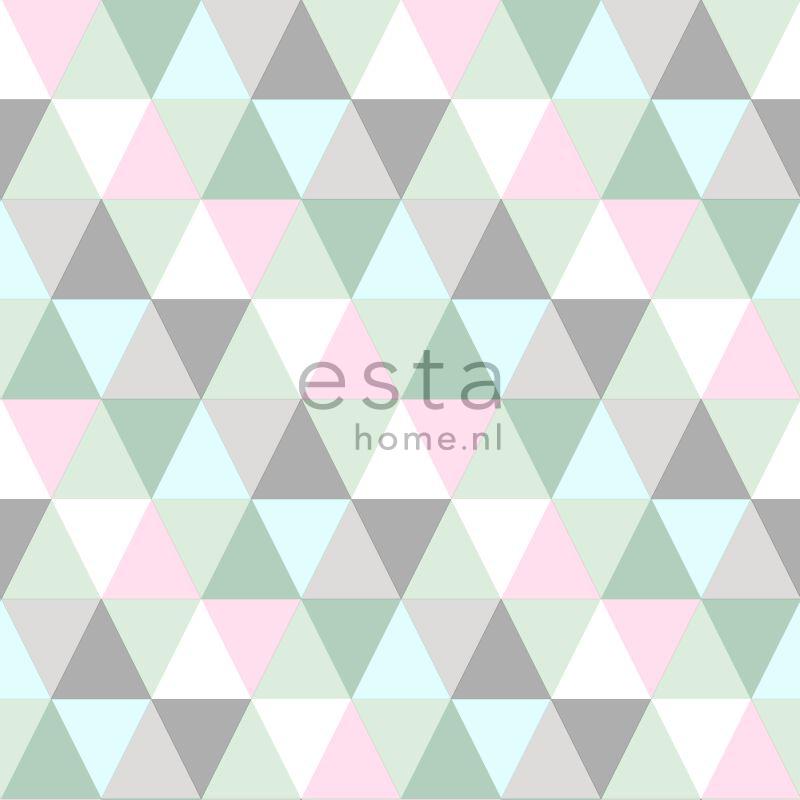 vliesbehang grafische driehoekjes roze, mint en grijs
