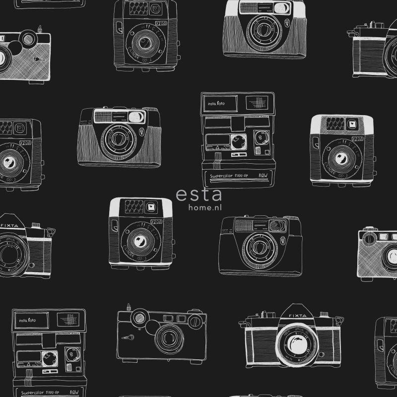 vliesbehang polaroid camera's zwart & wit