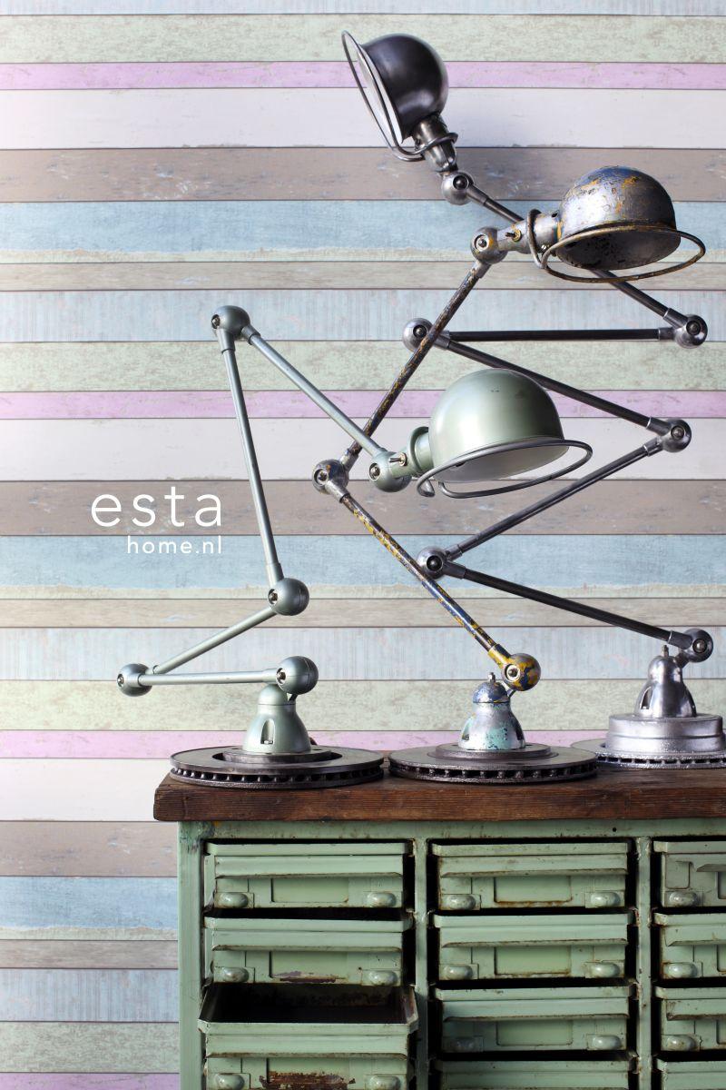 gekleurd sloophout behang