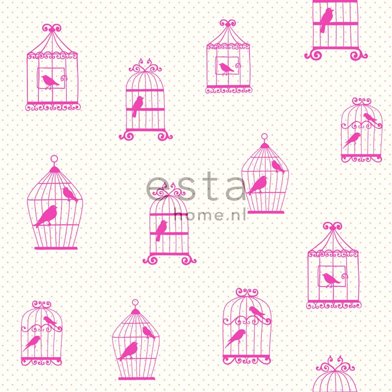 lief behang vogelkooi  roze