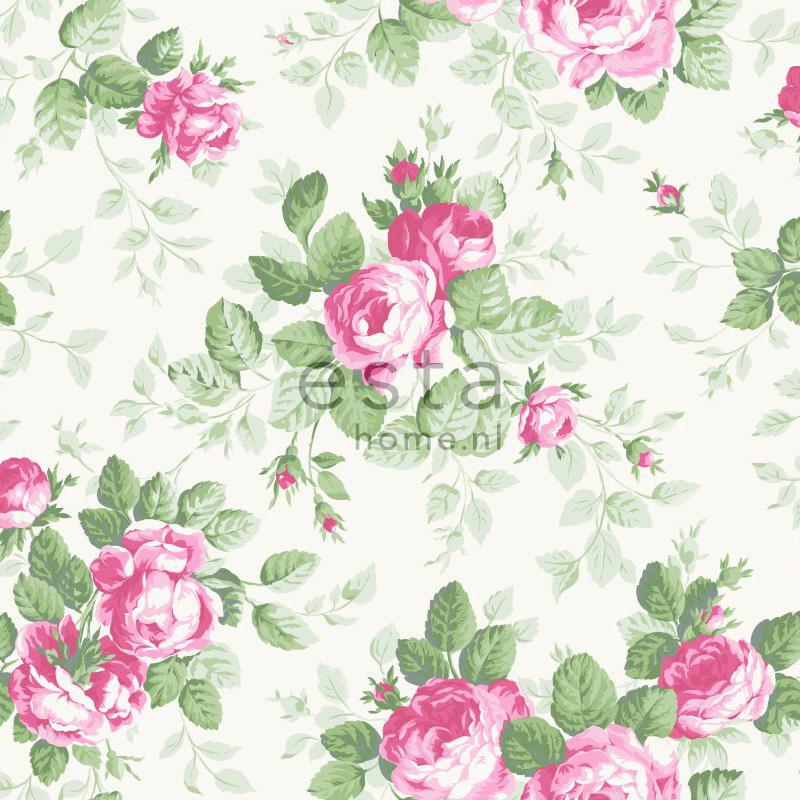 bloem behang met rozen roze