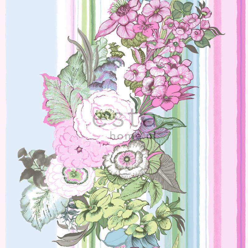 behang vintage bloemen licht roze