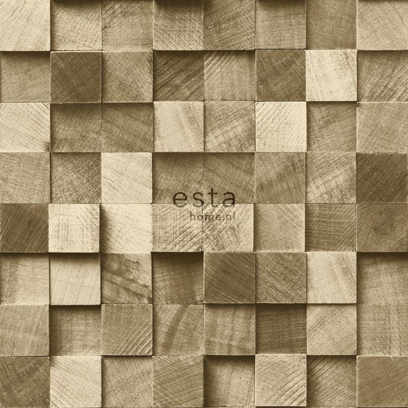 vliesbehang stukjes hout