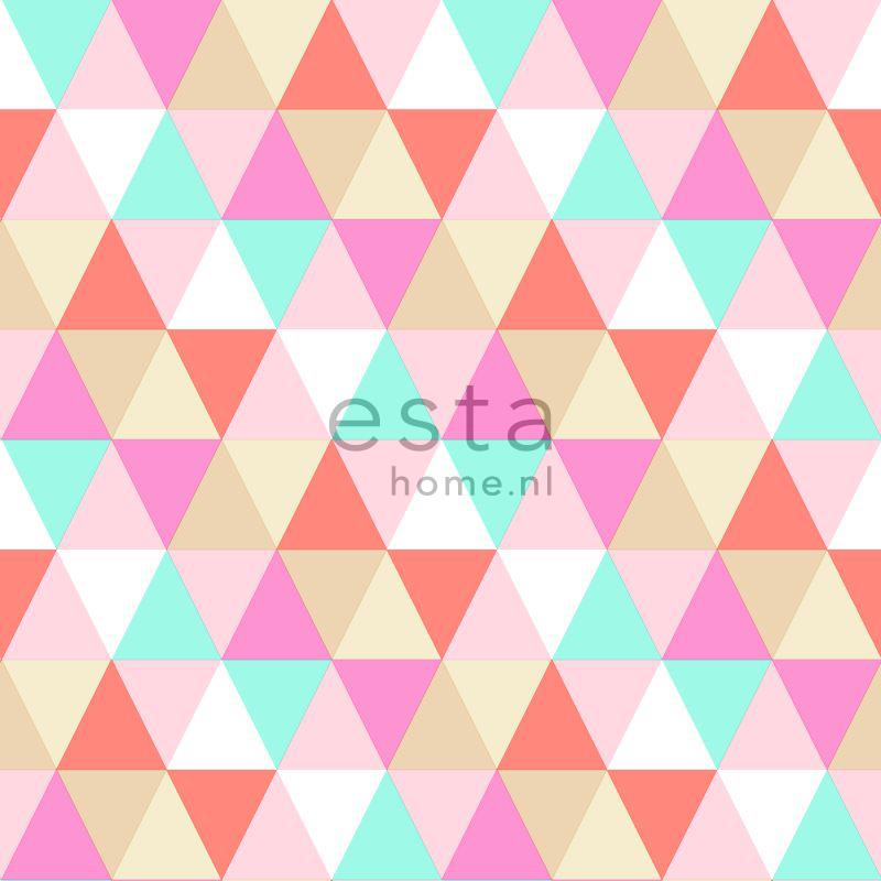 vliesbehang grafische driehoekjes roze, turquoise en koraal