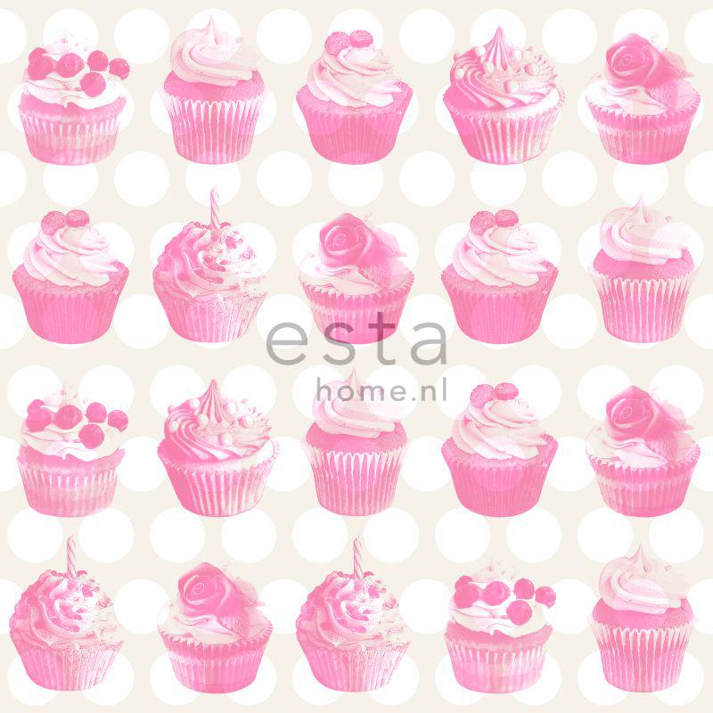 lief behang met cupcakes roze