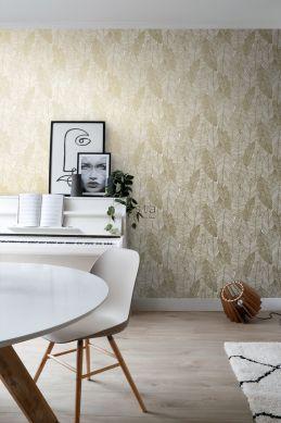 woonkamer behang getekende bladeren wit en goud 139125