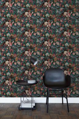 woonkamer behang bloemen smaragd groen 139171