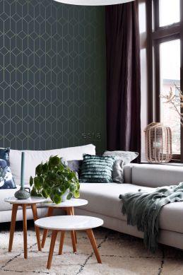 woonkamer behang art deco motief donkerblauw en goud 139225