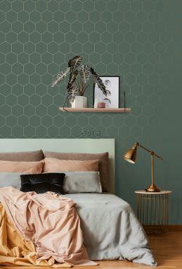 slaapkamer behang hexagon-motief donkergroen en goud 139228