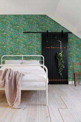 slaapkamer behang tropische jungle bladeren en paradijsvogels petrolblauw en jungle groen 139233