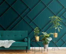 fotobehang wandpanelen diagonaal petrolblauw