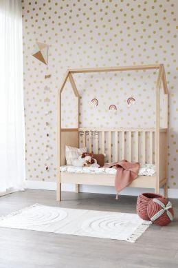 behang kleine stippen zacht roze en goud