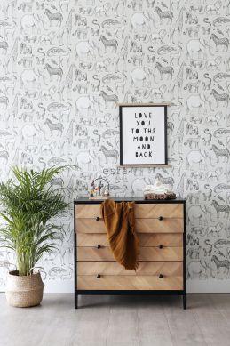 behang jungle dieren beige en grijs