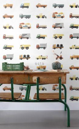 vlies wallpaper XXL vrachtwagens en tractoren geel, oranje en blauw