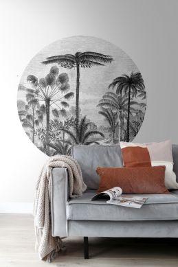 woonkamer zelfklevende behangcirkel tropisch landschap met palmbomen zwart wit 159006