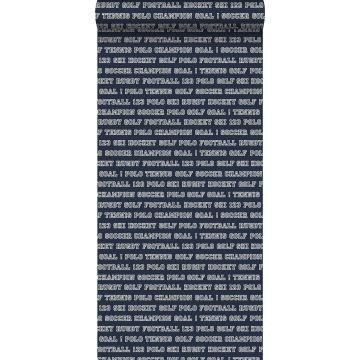 behang sport teksten marine blauw