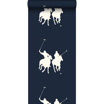 behang polo spelers marine blauw