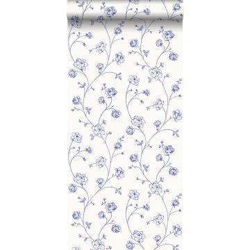 behang toile de jouy rozen blauw