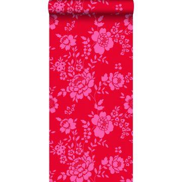 behang bloemen rood en roze