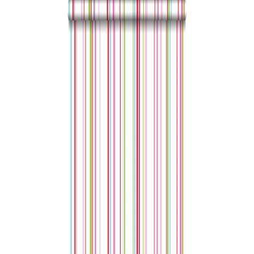 behang strepen limegroen, roze en turquoise