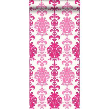 behang barokprint roze