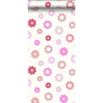 behang kant-motief roze
