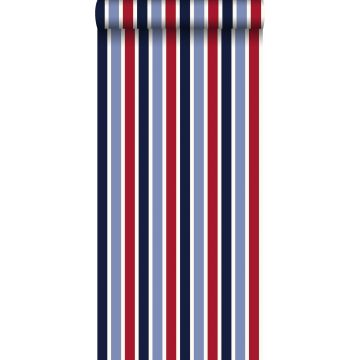 behang strepen marine blauw en rood