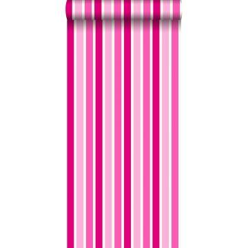 behang strepen roze