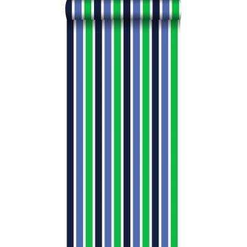 behang strepen marine blauw en groen