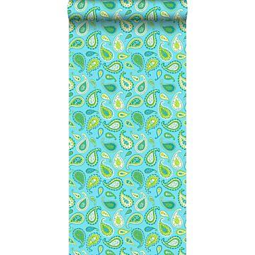 behang paisley turquoise en limegroen