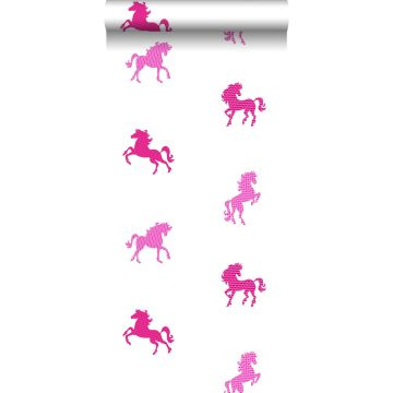behang paarden roze