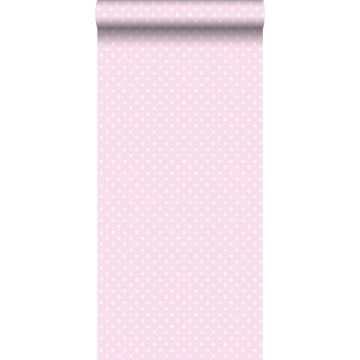 behang kleine stippen zacht roze en wit