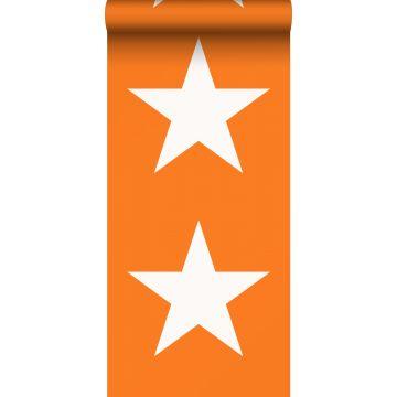 behang sterren oranje en wit