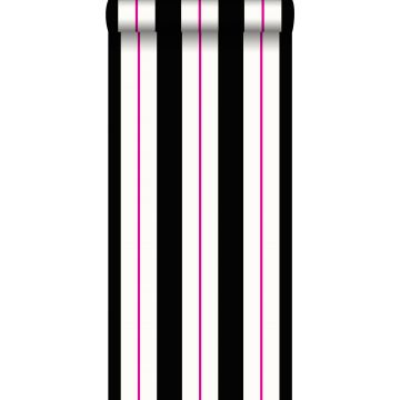 behang strepen roze en zwart