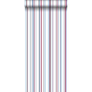 behang strepen rood en blauw