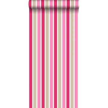 behang strepen roze en beige
