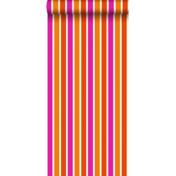 behang strepen oranje en roze