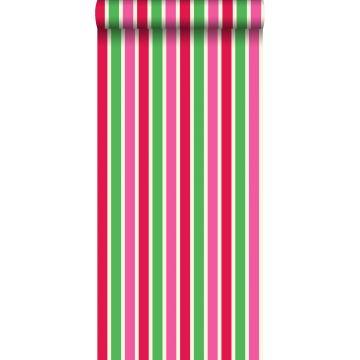 behang strepen rood en groen