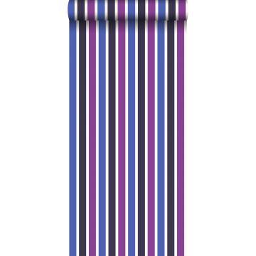 behang strepen blauw en paars