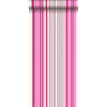behang strepen roze en turquoise