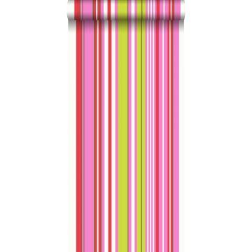 behang strepen limegroen en roze