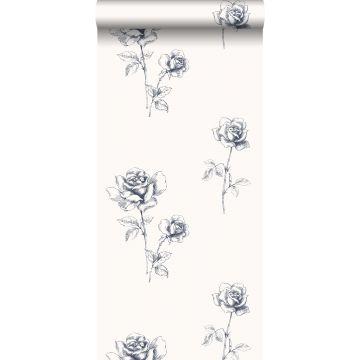 behang rozen blauw