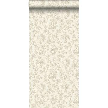 behang elegante bloemen bruin