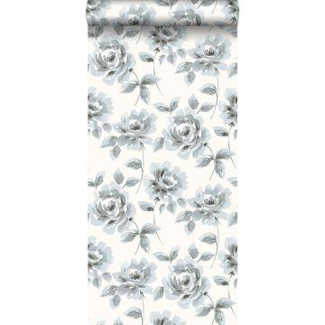 behang aquarel geschilderde rozen lichtblauw en grijs