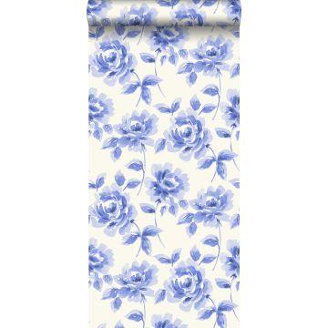 behang aquarel geschilderde rozen helder blauw