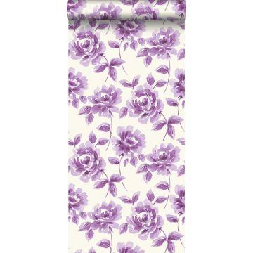 behang aquarel geschilderde rozen paars
