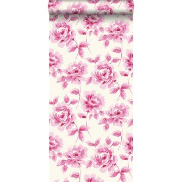behang aquarel geschilderde rozen roze