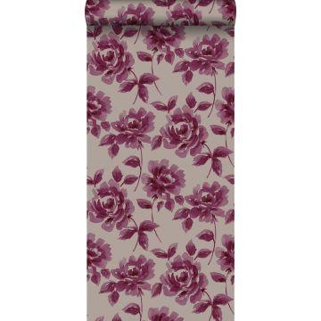 behang aquarel geschilderde rozen aubergine paars en taupe